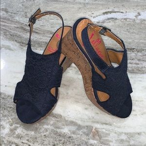 Jellypop Navy Blue Wedges